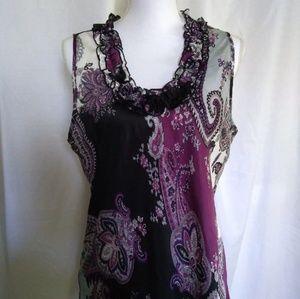 2/$13 Dressbarn Sleeveless Ruffled Neckline Blouse